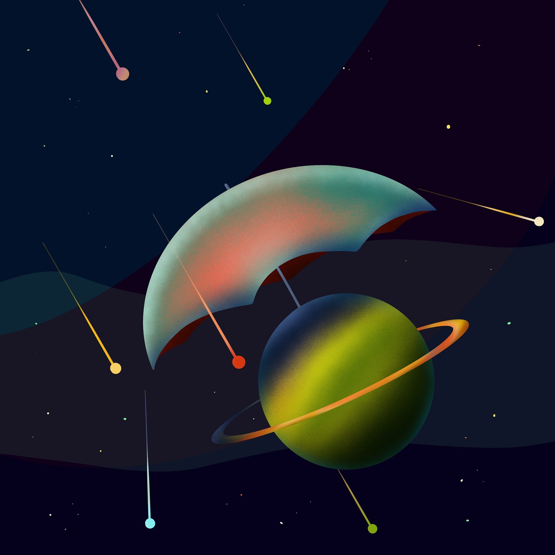 Umbrella with planet