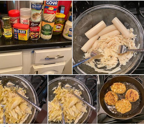 assortment of food cooking