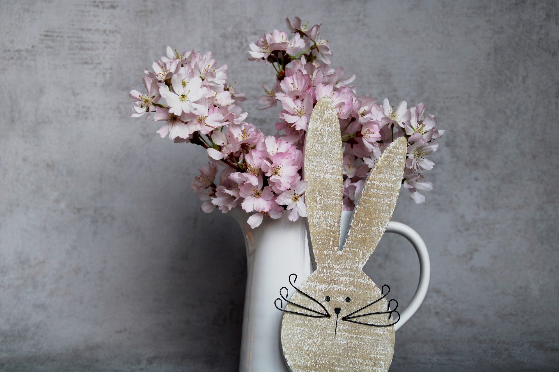 Hare next to vase with flowers